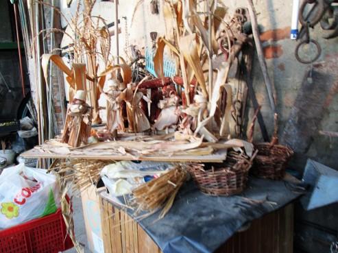 Making corn cob people for the nativity scene